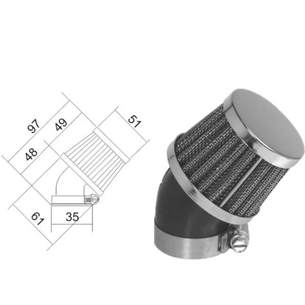 Luftfilter Sport 35mm 45°