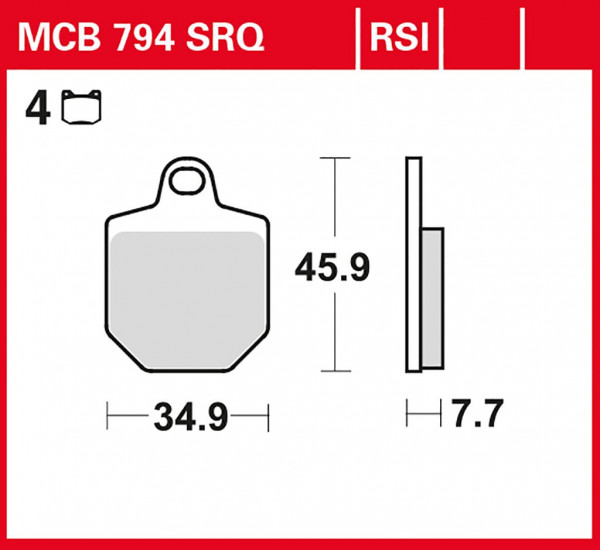 Bremsbelag TRW MCB794SRQ Sinter Rennsportbelag