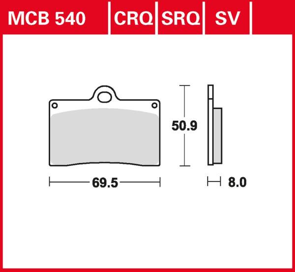 Bremsbelag TRW MCB540SRQ Sinter Rennsportbelag