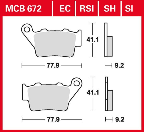 Bremsbelag TRW MCB672EC organisch für Roller, Scooter, Offroad