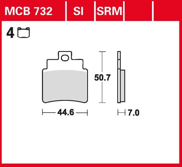 Bremsbelag TRW MCB732 organischer Allround-Bremsbelag