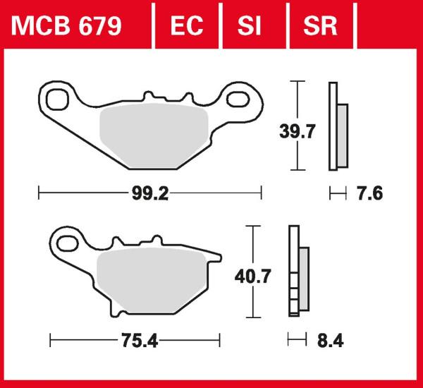 Bremsbelag TRW MCB679 organischer Allround-Bremsbelag