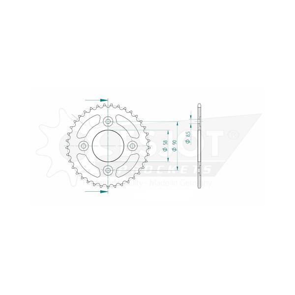 Kettenrad 50-13049-37 STAHL #420