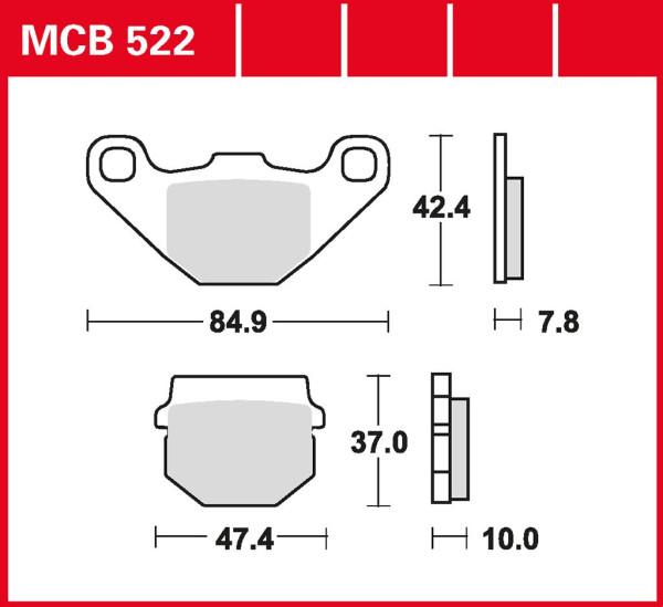 Bremsbelag TRW MCB522 organischer Allround-Bremsbelag