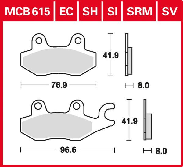 Bremsbelag TRW MCB615EC organisch für Roller, Scooter, Offroad