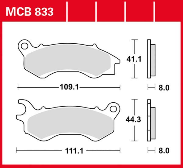 Bremsbelag TRW MCB833EC organisch für Roller, Scooter, Offroad