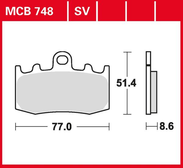 Bremsbelag TRW MCB748 organischer Allround-Bremsbelag